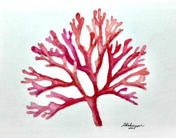 rosso arancione e rosa corallo 8x10 acquerello originale