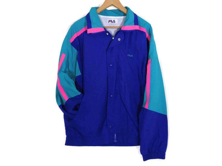 Vintage 90s Fila Colorblock Windbreaker - Large - Made in Italy - 90s Clothing - Wind Breaker - Vintage Clothing - Neon - 1990s Vintage FILA by BLACKMAGIKA on Etsy