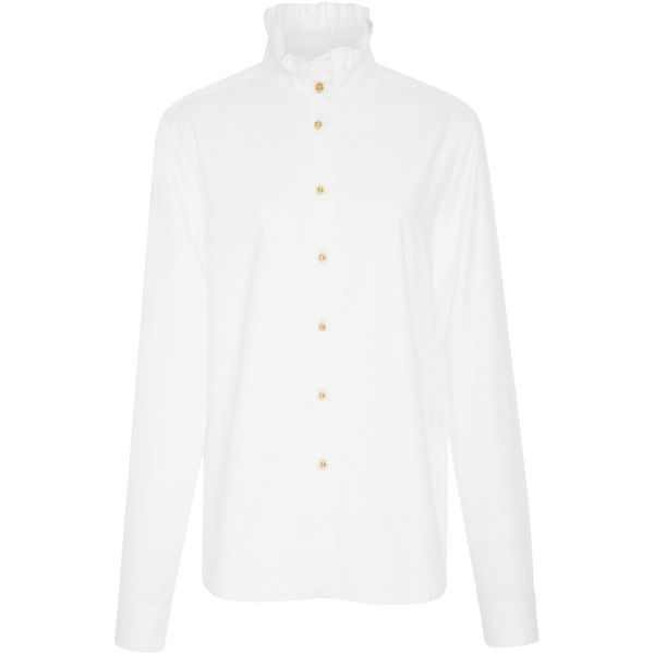 Cotton Oxford Shirt  | Moda Operandi (7.612.875 VND) ❤ liked on Polyvore featuring tops, relaxed fit tops, oxford shirts, dot top, polka dot oxford shirt and white top