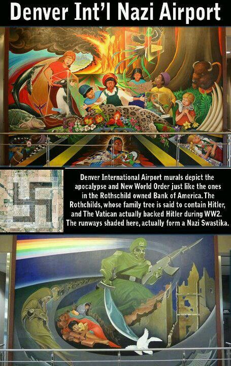 NWO mural @ the Denver International Airport. Look into what these mean. They'll blow your mind and disgust you.