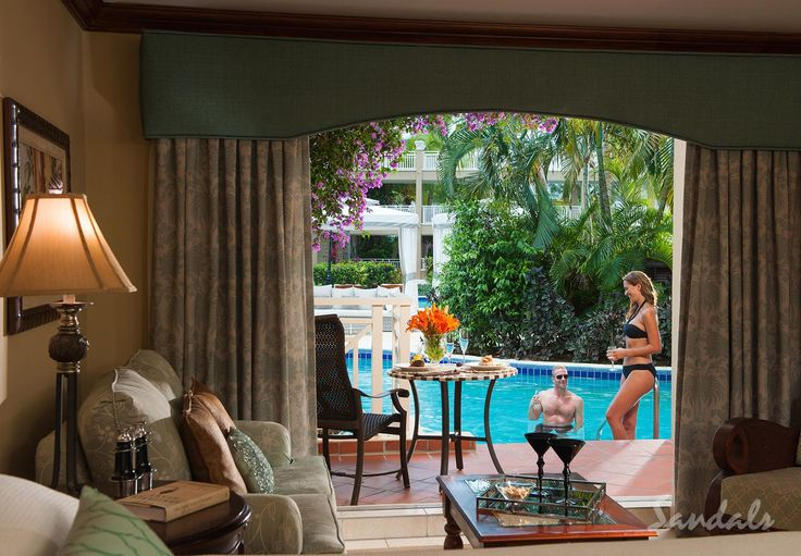 Swim-out suite at Sandals Grande St Lucian.
