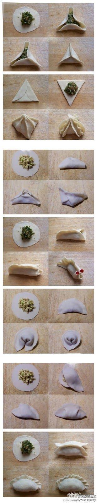 7 modi per chiudere i ravioli cinesi!!! Il ripieno.....mettete quel che vi pare...gamberi, verdure, carne di maiale....