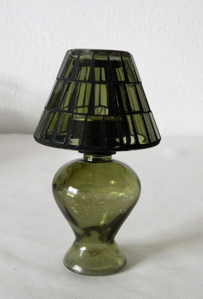 Green Glass Tealight Candle Holder W Stained Glass Lamp Shade 6 1 4 T