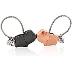 MILESI Sweet Kissing Pig Keychain One Pair Valentine's Gift Couple Love Token (Black Rose Gold)