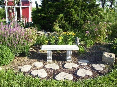 be nice to put our loved ones name in the hearts that have passed on, make a memory garden...heart shaped stepping stone