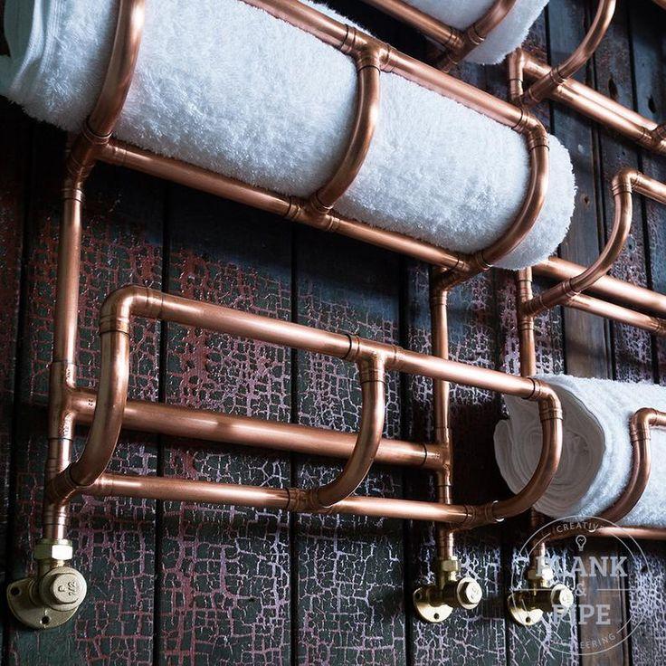 Kupfer Rohr Bad Handtuchhalter in industrieller urbanen