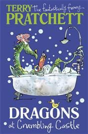 Dragons at Crumbling Castle: And Other Stories by Terry Pratchett. Dragons have invaded Crumbling Castle, and all of King Arthur's knights are either on holiday or visiting their grannies. It's a disaster! Luckily, there's a spare suit of armour and a very small boy called Ralph who's willing to fill it. Together with Fortnight the Friday knight and Fossfiddle the wizard, Ralph sets out to defeat the fearsome fire-breathers. But there's a teeny weeny surprise in store . . .