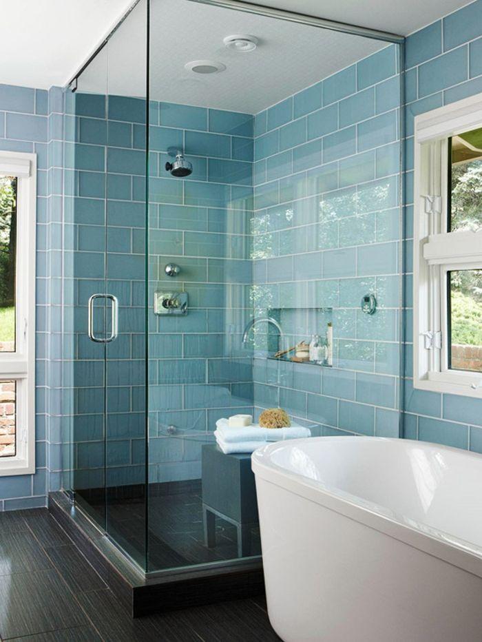 12 best salle de bain images on Pinterest Bathroom, Bathrooms and - salle de bain gris et bleu