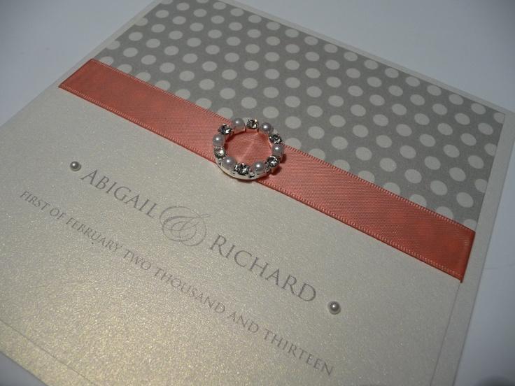 ivory silver coral spotty theme wedding invitation - Coral And Grey Wedding Invitations