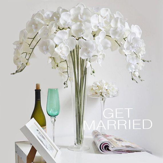 5 pcs Cream White Silk Orchids UK Customized Butterfly Artificial Orchid Phalaenopsis Flowers For Wedding Centerpieces