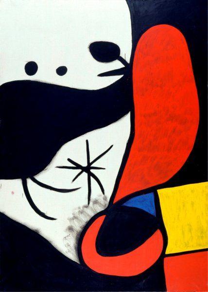 Joan Miró, Donna e uccelli in un paesaggio, 1970-1974, Acrilico su tela, 243,5 x 174 cm, Barcellona, Fundació Joan Miró © Succession Miró, by SIAE 2010