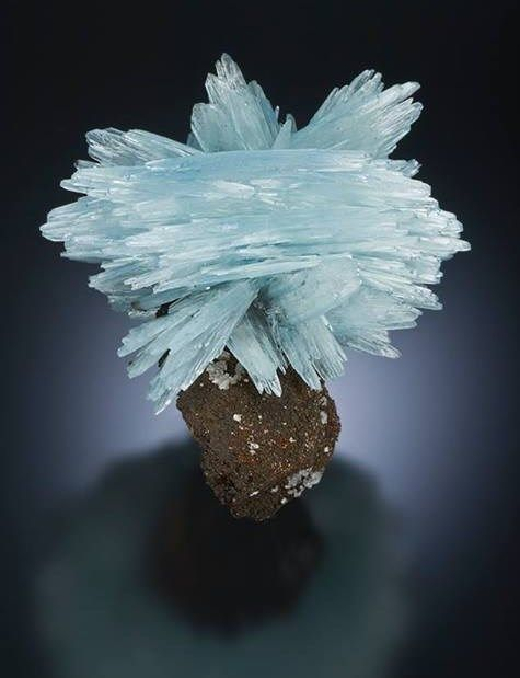 Barite, 12.3 cm tall, Ouichane Mine, Nador, Morocco. Photo taken at the Sainte-Marie-Aux-Mines Show. Photo credit: Jeffrey A. Scovil / Mineral Friends <3