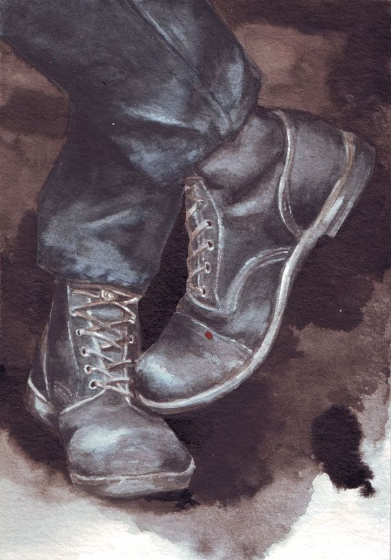 http://etsy.me/1CdxfEe painting of Men's Boots by Helga McLeod HM032 #art…