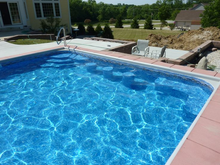 Vinyl Liner Pool With Custom Steel Steps And Stools Built By Penguin Pools Pool Projects