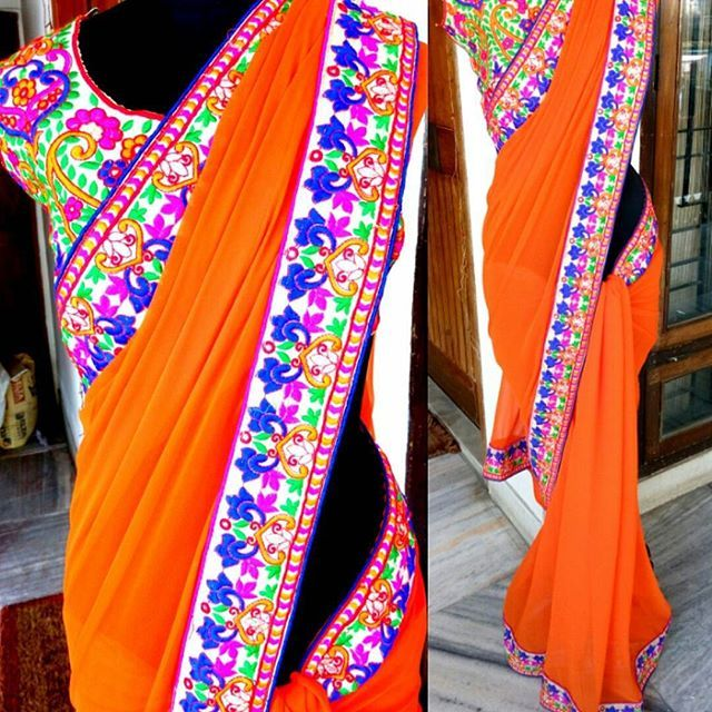 """ORANGE SAREE  A vibrant orange saree with multicolor thread and mirror work gujrati border. A matching gujrati work blouse.  Price 2900 INR  #navabynabanisha #saree #saris#indianwear #india #fashion #bridal"" Photo taken by @nava_by_nabanisha on Instagram, pinned via the InstaPin iOS App! http://www.instapinapp.com (09/06/2015)"