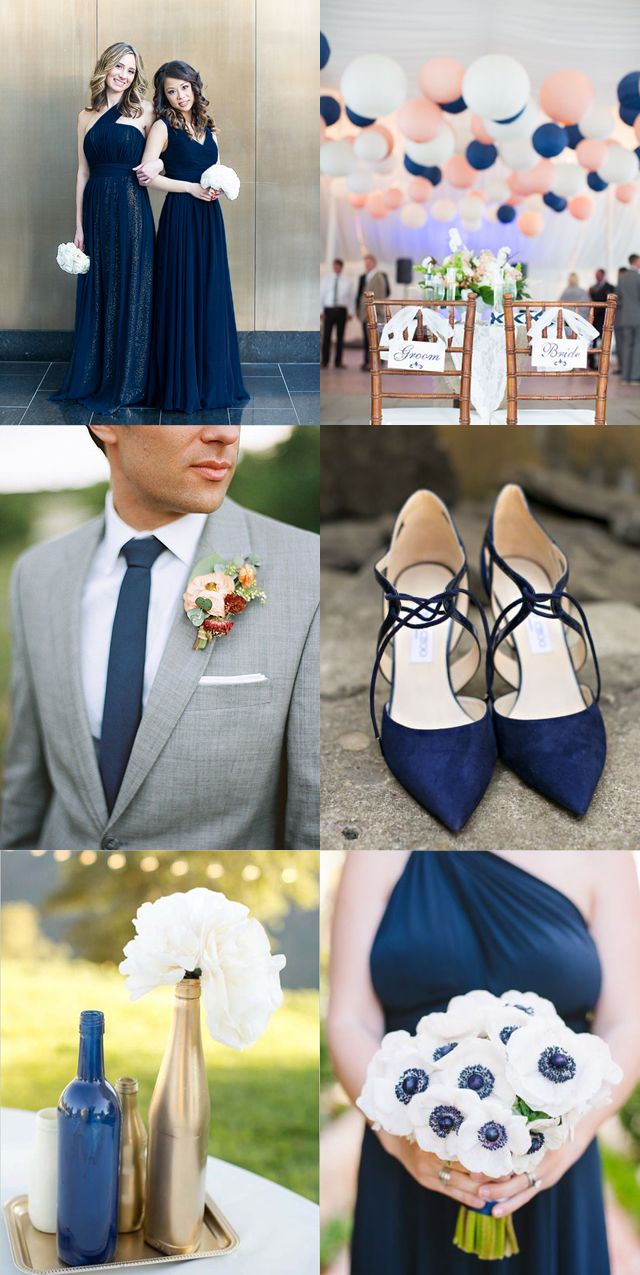 Navy blue inspiration board! Navy bridesmaid dresses, flowers, shoes, decor, DIY, ties!