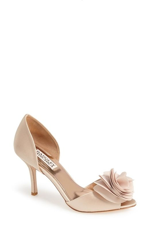 Satin badgley mischka shoe with floral accent and peep toe