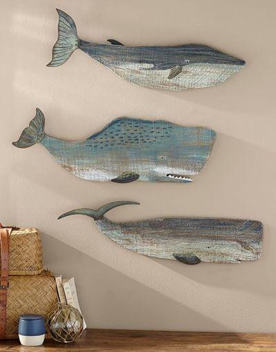 Diese handgefertigte, von Meer inspirierte Wandmalerei aus bemaltem Holz … #be…