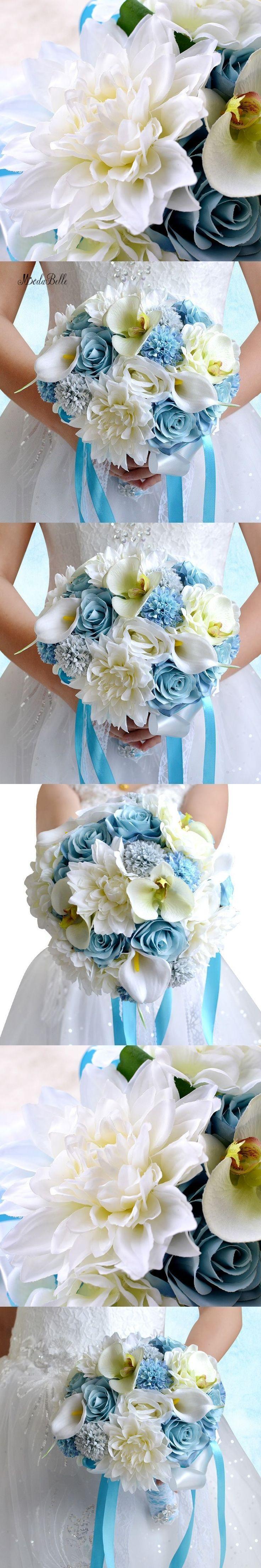 Romantic Blue Roses Beach Wedding Flowers Bouquets Bridal Brooch Bouquets De Mariage Artificial Calla Wedding Bouquet For Brides