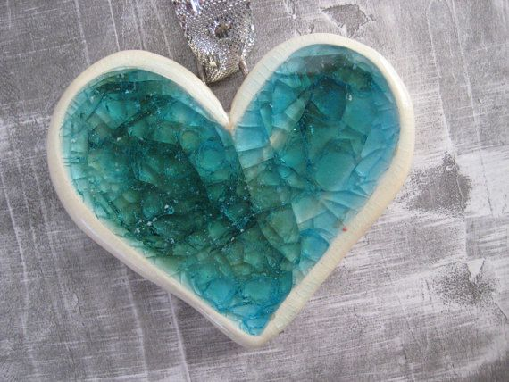 Aqua Teal Heart Ornament
