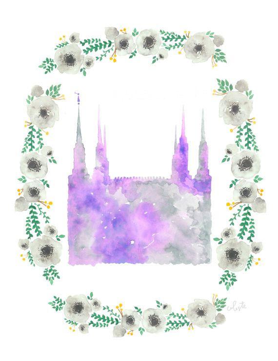 Washington, D.C. LDS Temple floral watercolor