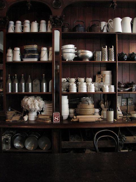kitchen goods on gorgeous shelves.