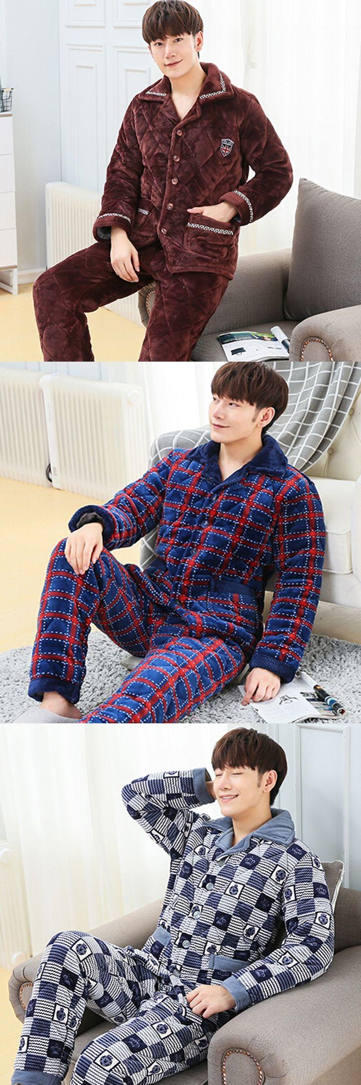 Hot sale  Winter Men's Flannel Pajamas Sets Fashion Casual Thickening plus  Sleepwear Velvet  Men's male thermal  pajamas