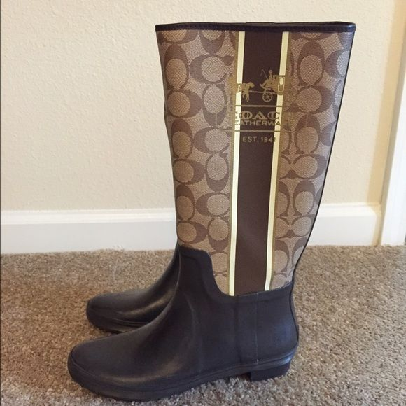 Coach Rainboots Coach Rainboots. Brown and tan. Signature Coach patter with horse and carriage logo on the outside. I think they can fit a 6.5, 7 and 7.5. They are is fantastic condition!!! No trades. Coach Shoes