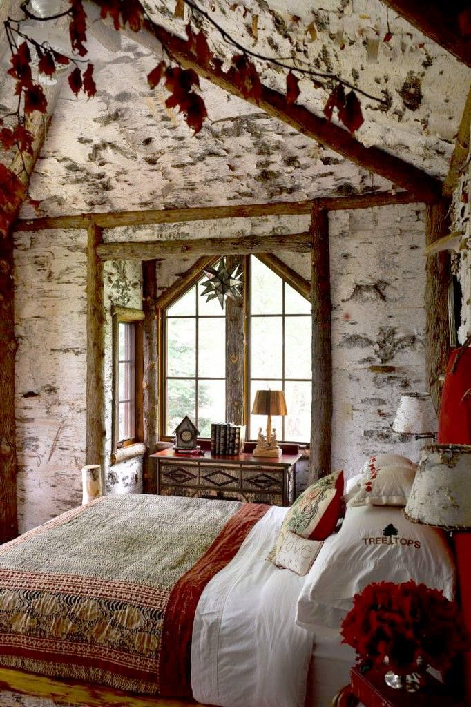 How Cool For A Guest Bedroom Fairytale Hideaway Celerie Kembles Adirondack Mountain House Room With Birch Bark Wallpaper