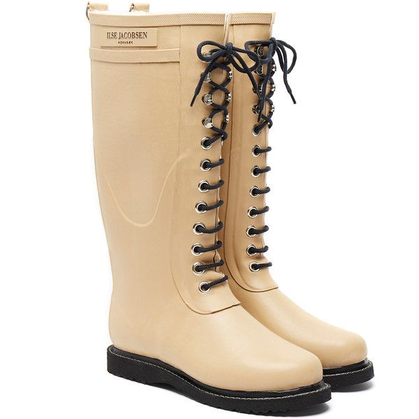 Ilse Jacobsen women's 'Rub 75' tall wellington boots Camel with black details Crafted from resilient and eco-friendly natural rubber Waterproof Metal hanging l…