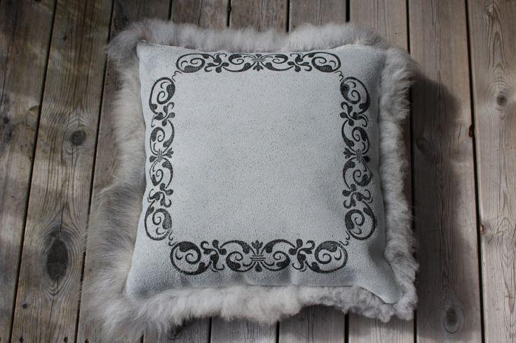 Lush pillow made from sheepskin of Norwegian wild sheep by ScandinavianSkins on Etsy