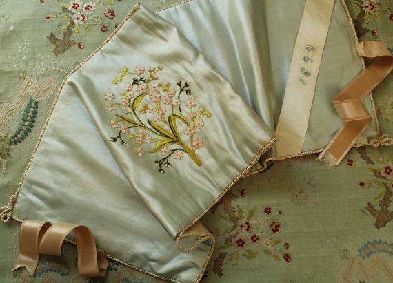 Original 1890s antique gorgeous old silk keeper case. Very nice shape, soft and sturdy with gorgeous hand embroidered flowers and ribbon. Measures