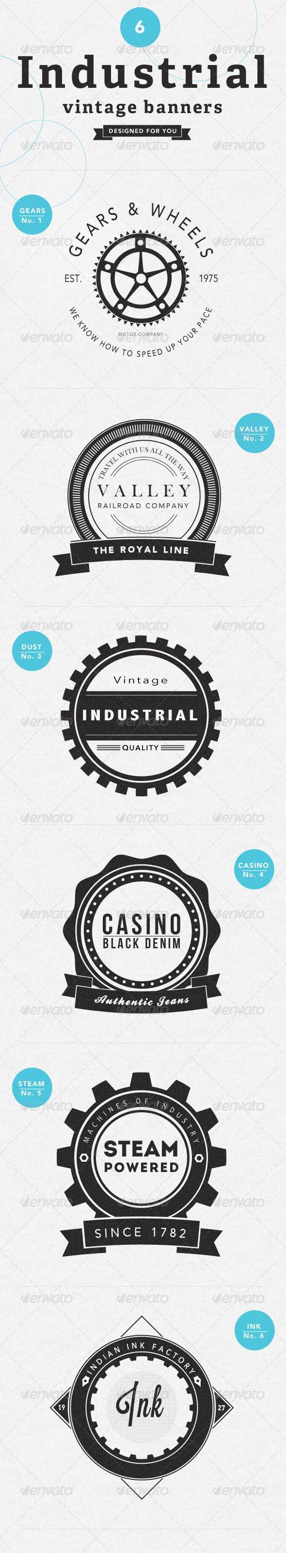 6 Industrial Vintage Badges - GraphicRiver Item for Sale