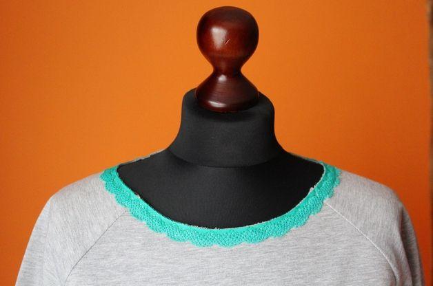 RoomStyle Bluza Siwa Melanż Koronka Zielony S-L - RoomStyle - Bluzy