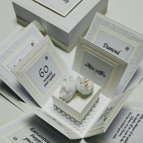 Exploding 60th Diamond Wedding Anniversary Box Card Etsy 50 Golden Wedding Anniversary Wedding Anniversary Golden Wedding Anniversary