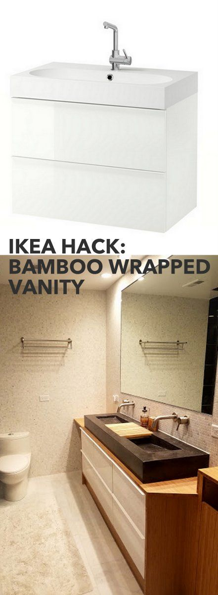 Bamboo Plywood wrapped Godmorgon for modern bathroom vanity http://www.ikeahackers.net/2017/05/bamboo-plywood-wrapped-godmorgon-modern-bathroom-vanity.html