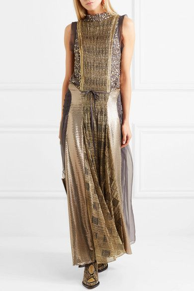 GABRIELLE'S AMAZING FANTASY CLOSET | Chloé's Free-Wheeling, Multi-Panel Gown in Cobwebby Gray Georgette with Panels of Multi-Metallic Sequins and Embroidered, Looped and Grid-Effect Gold Lamé. It has an Open Back with a Neck Tie and the Partially Pleated Skirt has an Ankle-Length Hem. Add Champagne Diamond Tassel Earrings, Ring and a Silver Diamond Ring for Sparkle and finish with Copper Pumps and a Pewter Crocodile Clutch (It's all on this board) Everything for your Gypsy Heart - Gabrielle