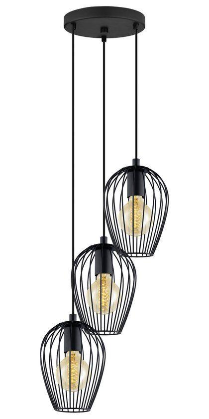 Bol.com €79,99 EGLO Newtown - Hanglamp - 3 Lichts - Zwart
