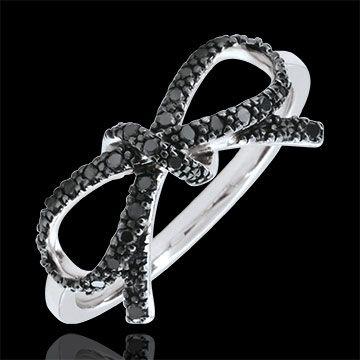 Anello Fiocco Finezza diamanti neri - Argento e diamanti : gioielli Edenly