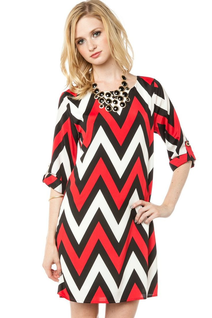 Cherie Chevron Shift Dress in Red / ShopSosie #Red #Black #White #Chevron #Print #Shift #Dress #ShopSosie
