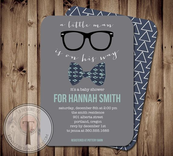 Little Man Baby Shower Invitation, Bow Tie Baby Shower, Bow Tie, Little Man, Chevron, Invite, hipster baby shower, hipster invite