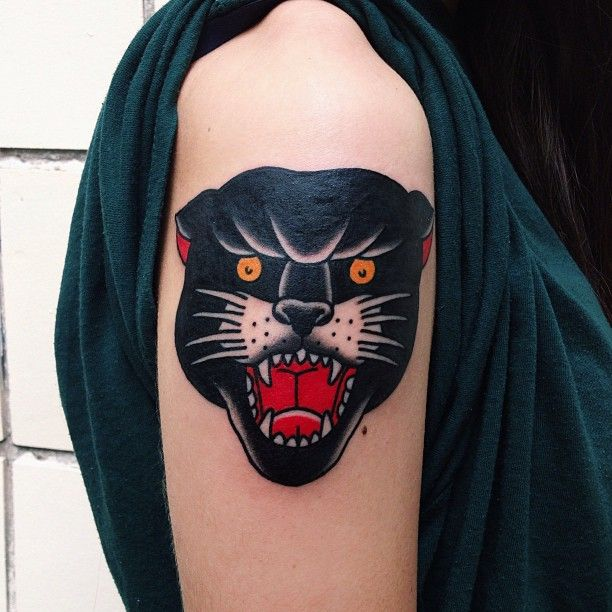 Al od panthers ink and panther tattoos for Old school panther tattoo