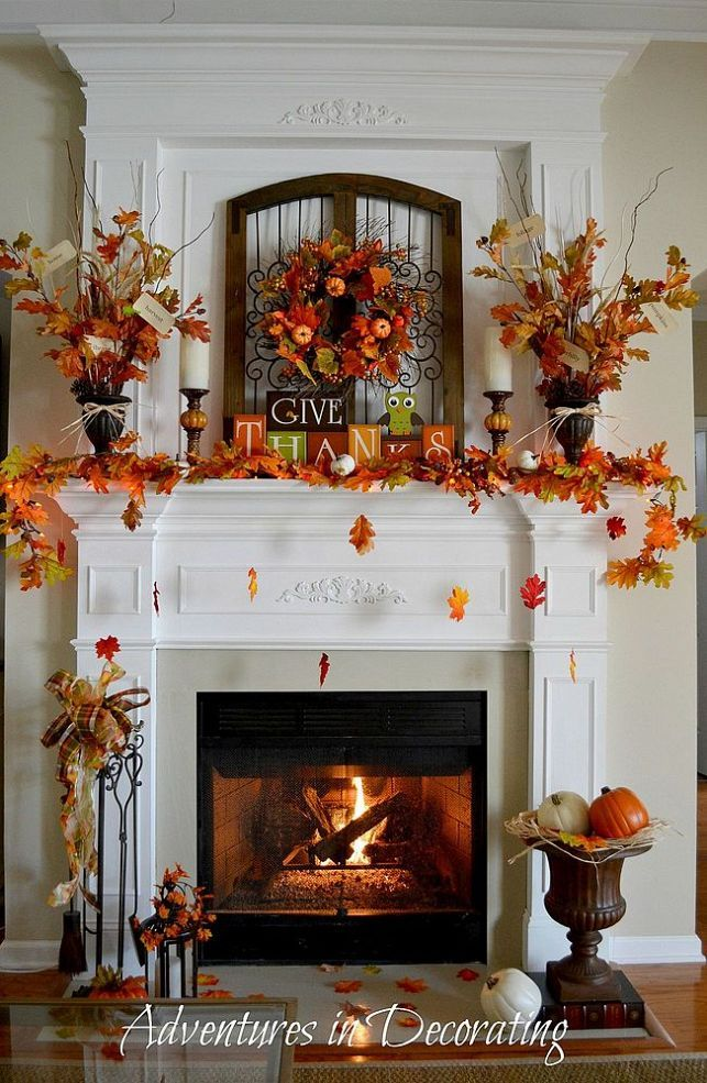 Fall Leaf Mantel Inspiration {done By Adventures In Decorating}