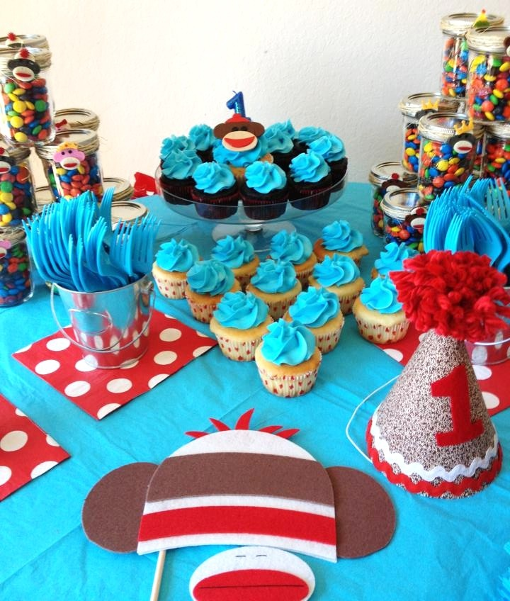 This Cake Table Was Decorated For A Sock Monkey 1st Birthday Party And Is Featured On