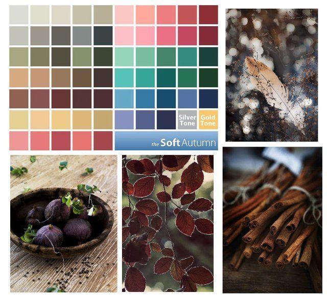 Мягкая осень — это спокойные, немного золотистые, цвета, ассоциирующиеся с началом осени, с сентябрьским лесом в дождь, со временем урожая, с предзакатным временем, когда цвета сероватые, и подсвечены садящимся золотистым солнцем.