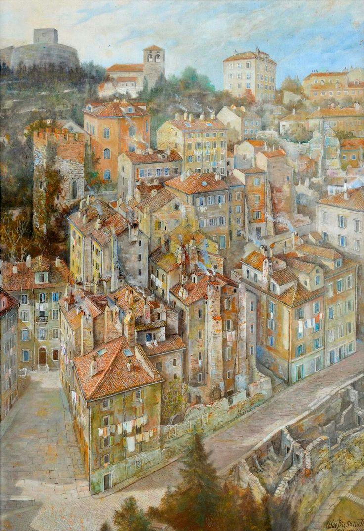 Aldo Bressanutti veduta cittàvecchia e Castello di San Giusto