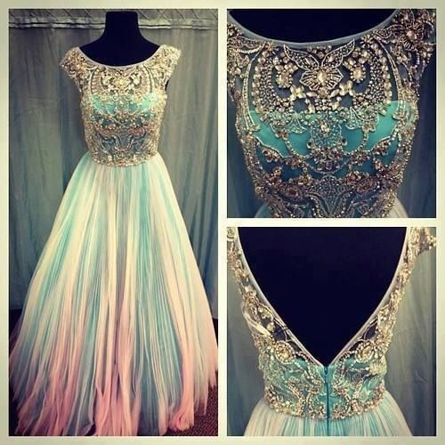 Beautiful blue and pink dress with gold on the bodice.