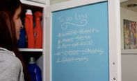 Use colored chalk board paint on the inside of a cabinet or pantry door to make a grocery list! The wife just did this at home!