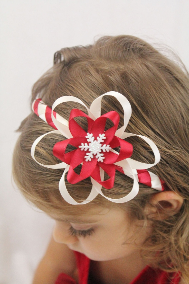 Candy Cane Christmas Headband Hair Bow - Red White Snowflake Christmas Hair Bow Headband. $11.00, via Etsy.