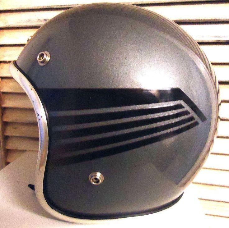 Fulmer Motorcycle Helmet (Vintage 1972 Men's Pre-owned Arthur Fulmer AF40 Gray & Black Bike Helmet)